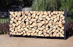 Stacked Logs on the Woodhaven 8' Firewood Log Rack