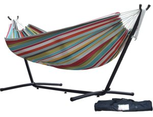 Vivere Double Hammock with Space Saving Steel Stand. Ciao with Charcoal FrameVivere Double Hammock with Space Saving Steel Stand. Ciao with Charcoal Frame