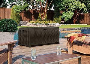 Suncast 73 Gallon Deck Box DBW7300 on the Patio