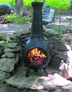 Blue Rooster Dragonfly Wood Burning Chiminea