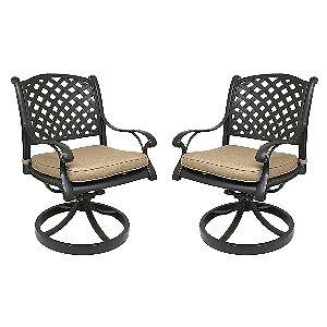 Nevada Swivel Rocker Chairs with Sesame Cushions
