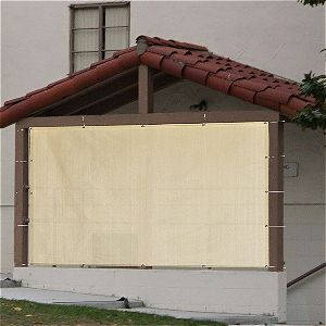 Alion Home Sun Shade Privacy Panel with Grommets on 4 Sides for Patio, Awning, Window Cover, Pergola or Gazebo with ties