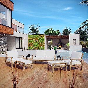 Teak Wood Sofa Set by Modway