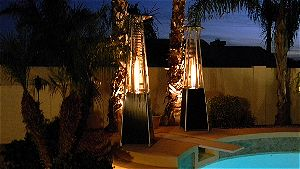 AZ Patio Heaters HLDS01-GT Hammered Bronze Patio Heater in Action