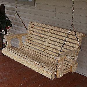Amish Heavy Duty 800 lb Roll Back 4 Ft Porch Swing