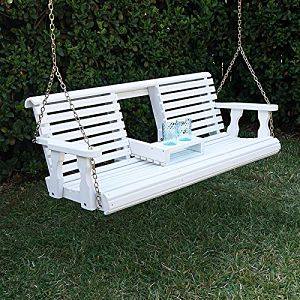 Porchgate Amish Heavy Duty 800b 5' Porch Swing White Stain