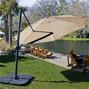 Coolaroo 12 Ft Cantilever Umbrella Round MochaCoolaroo 12 Ft Cantilever Umbrella Round Mocha