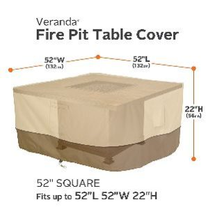 "Classic Accessories Veranda 52"" Square Fire Table Cover"