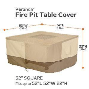 """Classic Accessories Veranda 52"""" Square Fire Table Cover"""