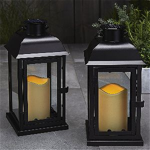 LampLust Black Solar Lanterns, Set of Two
