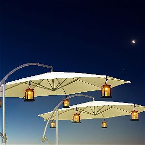Mabor Solar LED Waterproof Hanging Lights on a Cantilever Umbrella