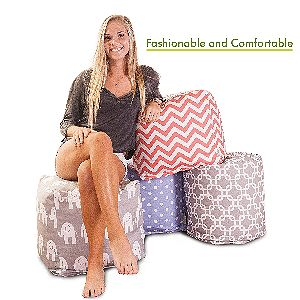Majestic Home Goods Aruba Indoor Outdoor Bean Bag Ottoman Pouf Cube