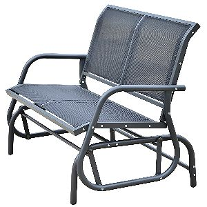 Outsunny 48in Outdoor Patio Swing Glider Bench Chair - Dark Gray