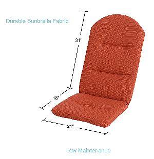 Phat Tommy Adirondack Chair Cushion Dimensions