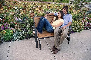 Relaxing on the Lifetime 60055 Glider Bench