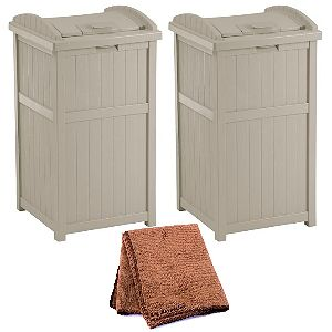 Suncast GH1732 Outdoor Trash Containers Set of 2Suncast GH1732 Outdoor Trash Containers Set of 2