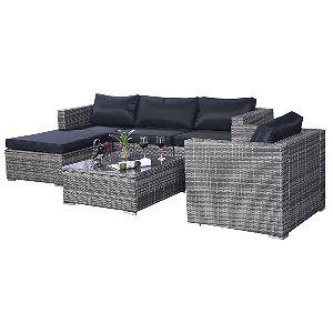 Tangkula 6 Pcs Outdoor Wicker Furniture Set