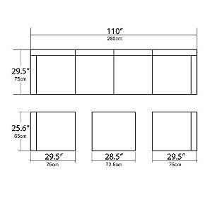 U-max Patio Sectional Furniture Set Dimensions