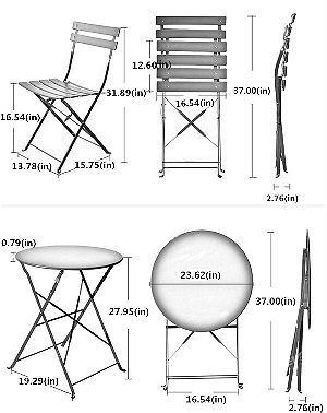Grand patio 3-PCS Bistro-Set Dimensions