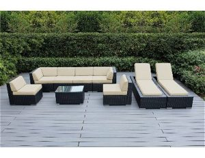 Ohana 9 Piece Sunbrella Patio Furniture Set: Taupe