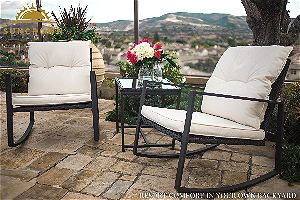 Suncrown Outdoor Wicker Bistro Set with Glass Table