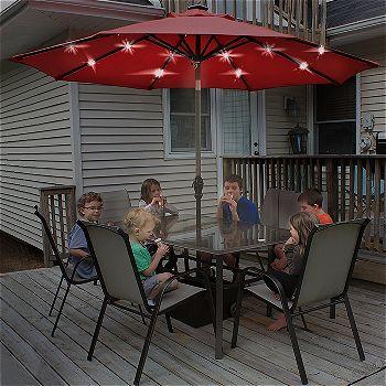 Abba Patio 9' Patio Umbrella with LED Lighting