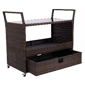 Giantex Rolling Kitchen Trolley Cart with Drawer Open
