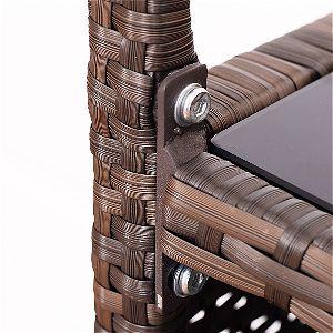 Giantex Rolling Trolly Cart Wicker Detail