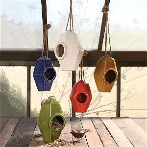 Intelligent Design Perch Ceramic Bird House