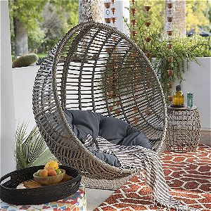 Island Bay Boho-chic-style Resin Wicker Kambree Rib Hanging Egg Chair