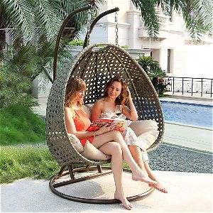 Island Gale 2 Person Wicker Swing Chair with Stand