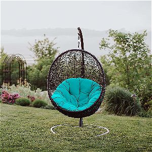 Modway Encase Egg Swing Chair in Turquoise