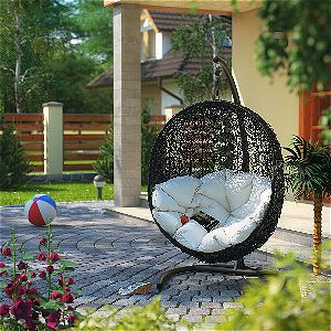 Modway Encase Rattan Outdoor Patio Swing Chair, Suspension Series