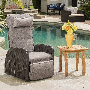 Odina Outdoor Brown Recliner with Cushion