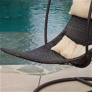 Great Deal Furniture Hanging Chair Wicker and Pillow