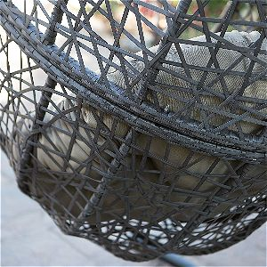 Island Bay Espresso Hanging Egg Chair Wicker Detail