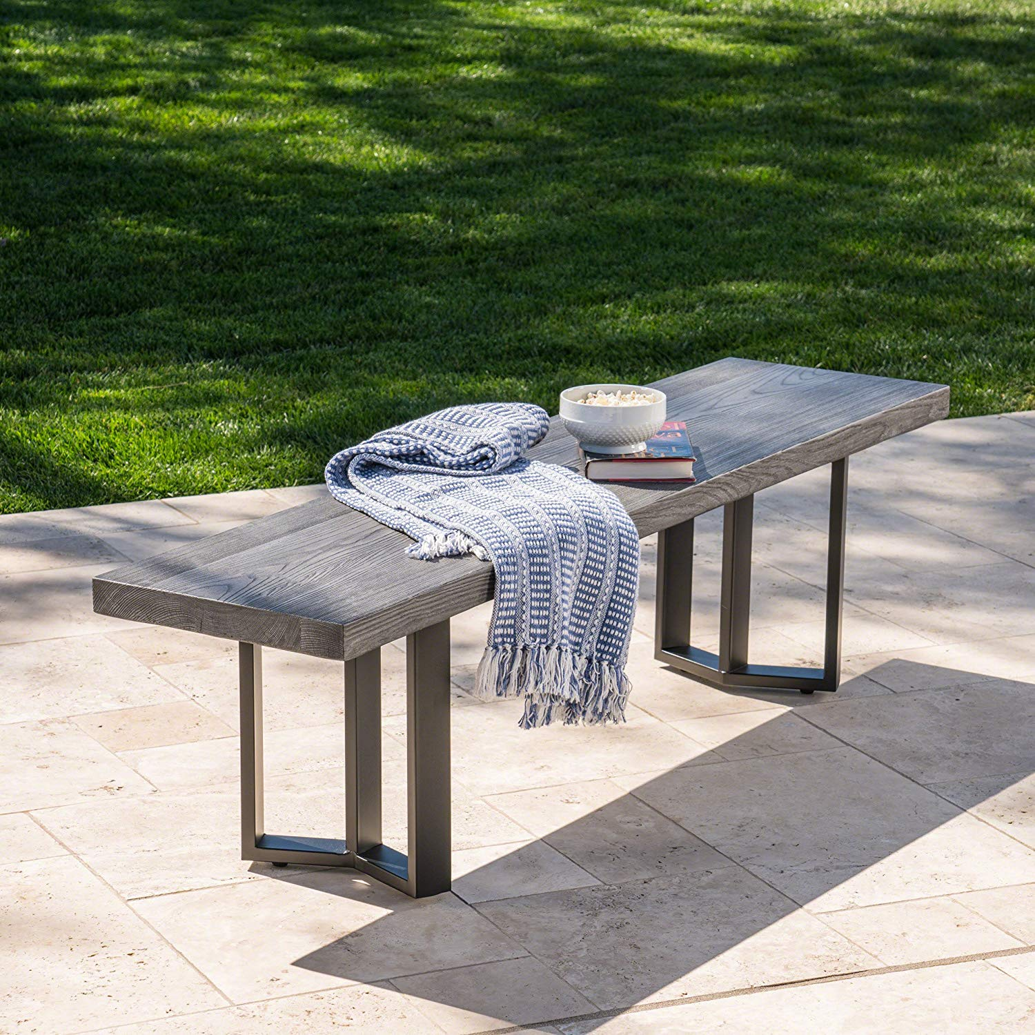 Another Beautiful Concrete And Metal Bench By Great Deal Furniture,