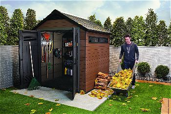 Keter Fusion Wood and Plastic Composite Outdoor Storage Shed