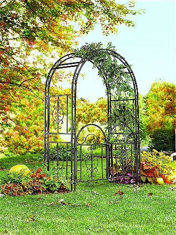 Montebello Decorative Garden Arbor Trellis with Gate