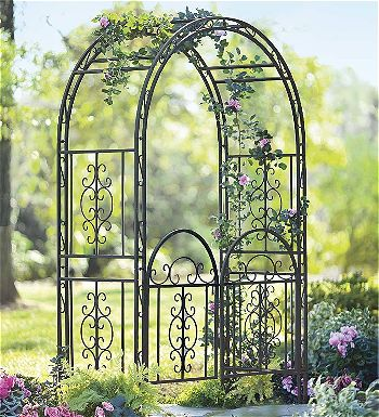 Plow and Hearth Montebello Decorative Garden Arbor with Gate