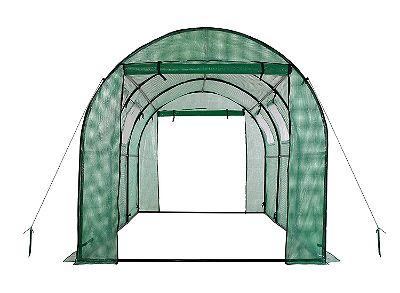 OGrow 2 Door Walk-In Tunnel Greenhouse With Ventilation Windows & Steel Frame