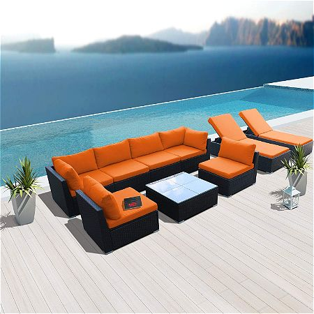 Modenzi 9G-U Outdoor Sectional Patio Furniture Espresso Brown Wicker Sofa Set