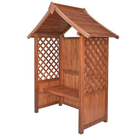 Rowlinson English Garden Wood Arbor with Bench