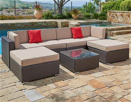 Suncrown Outdoor Furniture Sectional Sofa Set (7-Piece Set)