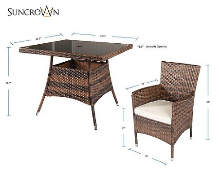 Suncrown Outdoor Furniture Square Wicker Dining Table and Chair Dimensions