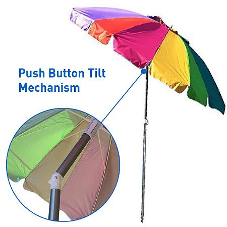 EasyGO Rainbow Beach Umbrella - Portable Wind Beach Umbrella