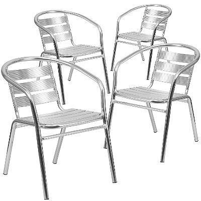 Flash Furniture 4 Pk. Heavy Duty Commercial Aluminum Indoor-Outdoor Restaurant Stack Chair