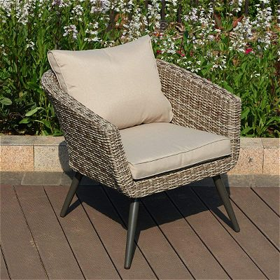 PHI VILLA Outdoor Patio Brushed Rattan and Gradual Changing Color Wicker Sofa