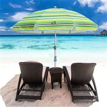 Snail 7 feet Vented Beach Umbrella with Tilt and Telescoping Aluminum Pole