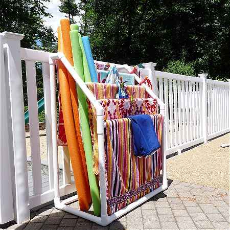 TowelMaid 5 Bar Freestanding Outdoor Poolside Towel Rack